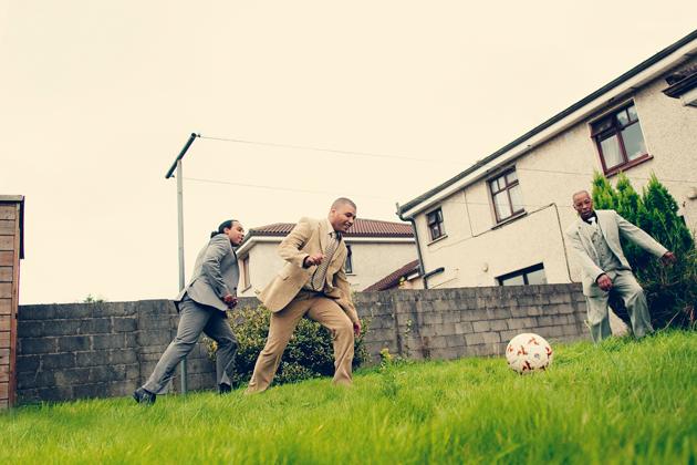 The boys show off their football skills